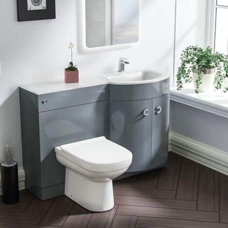 Tate RH Light Grey Vanity Sink and Debra BTW Toilet Combo Unit