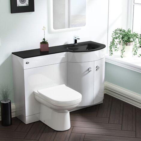 Tate RH White Vanity Sink and Debra BTW Toilet Combo with Black Basin Unit