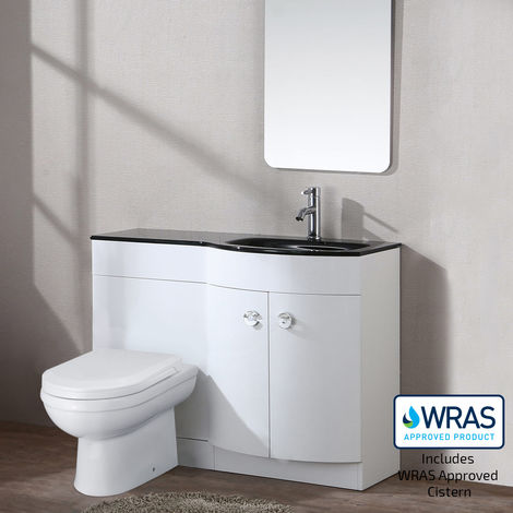 TATE Right Hand White Gloss Bathroom Black Basin Vanity Unit WC Toilet Cabinet Suite - 1100mm