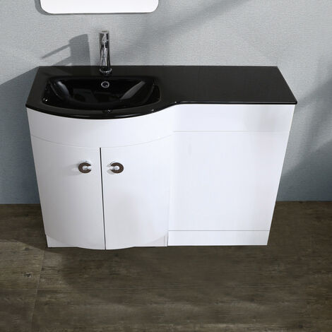 Tate White Gloss Black Basin Vanity Unit Wc Toilet Cabinet Suite 1100mm left hand