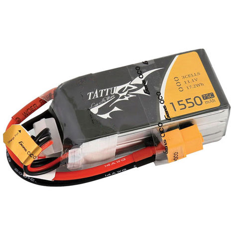 Tattu 11.V 1550mAh 3-cell 75C LiPo Battery