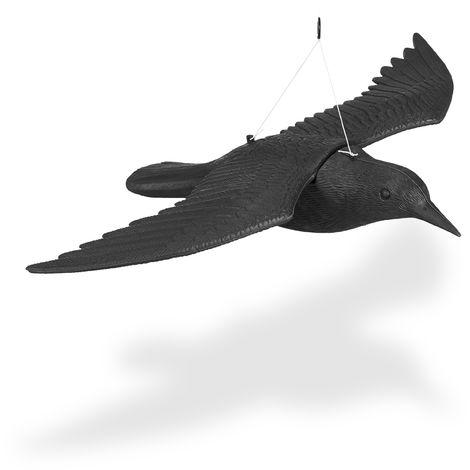 Taubenschreck Krähe, Dekofigur als Vogelscheuche, fliegender Rabe für Taubenabwehr, Gartenfigur Vogel, schwarz