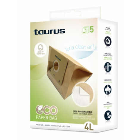 Taurus Bolsa de Recambio para Aspiradora Taurus 999.193 2L Marrón