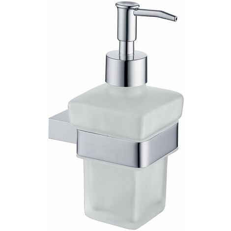 """main image of """"Taurus Polished Chrome and Frosted Glass Wall Mounted Liquid Soap Dispenser"""""""