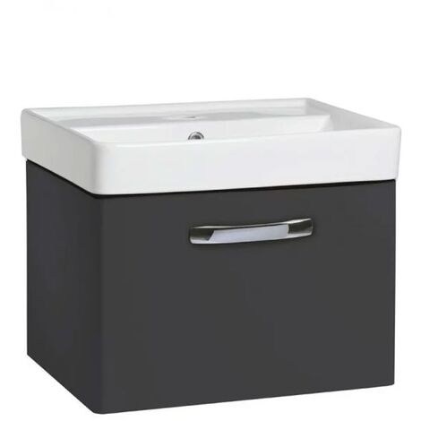 Tavistock Compass 1-Drawer Wall Mounted Vanity Unit with Basin 500mm Wide - Gloss Clay