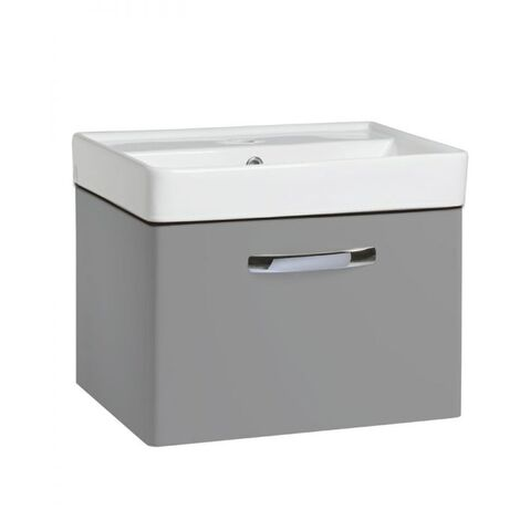 Tavistock Compass 1-Drawer Wall Mounted Vanity Unit with Basin 500mm Wide - Gloss Light Grey
