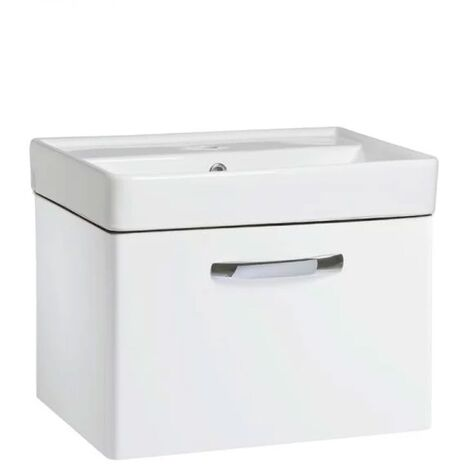 Tavistock Compass 1-Drawer Wall Mounted Vanity Unit with Basin 500mm Wide - Gloss White