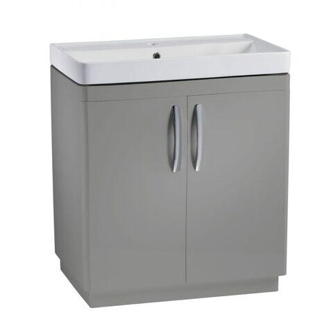 Tavistock Compass Floor Standing Bathroom Vanity Unit with Basin 800mm Wide - Gloss Light Grey