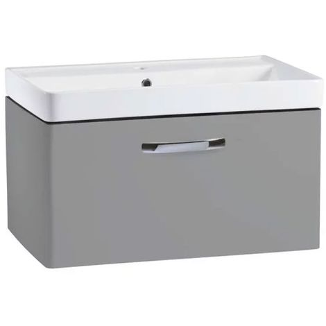 Tavistock Compass Wall Mounted Bathroom Vanity Unit with Basin 800mm Wide - Gloss Light Grey