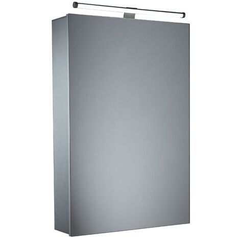 Tavistock Conduct Illuminated Bathroom Cabinet 650mm H x 440mm W Aluminium