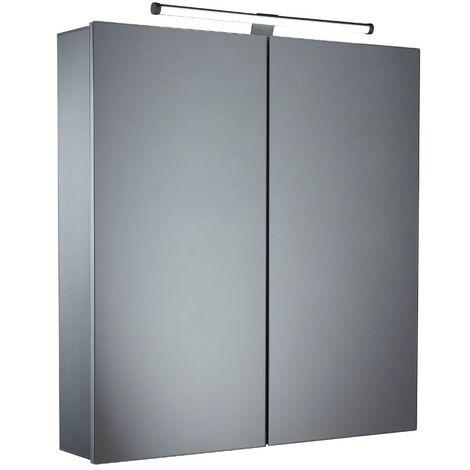 Tavistock Conduct Illuminated Bathroom Cabinet 650mm H x 600mm W Aluminium