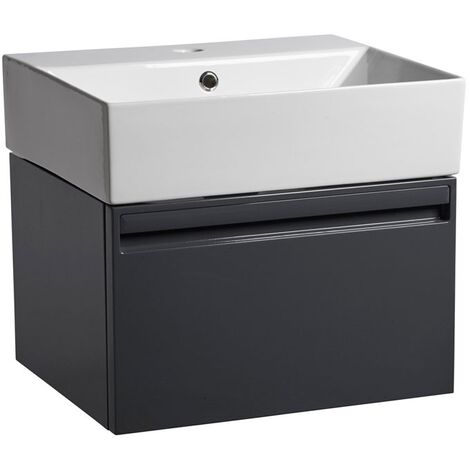 Tavistock Forum Wall Mounted Bathroom Vanity Unit with Basin 500mm Wide - Gloss Dark Grey