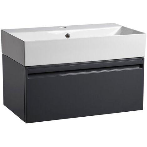Tavistock Forum Wall Mounted Bathroom Vanity Unit with Basin 700mm Wide - Gloss Dark Grey