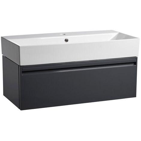 Tavistock Forum Wall Mounted Bathroom Vanity Unit with Basin 900mm Wide - Gloss Dark Grey