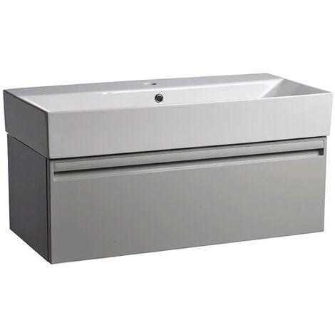 Tavistock Forum Wall Mounted Bathroom Vanity Unit with Basin 900mm Wide - Gloss Light Grey