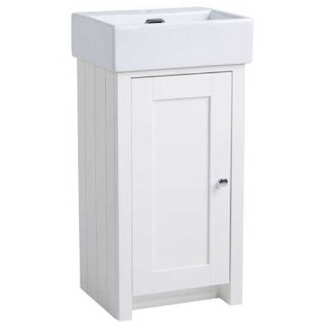 Tavistock Lansdown Floor Standing Vanity Unit with Basin 400mm W - Linen White