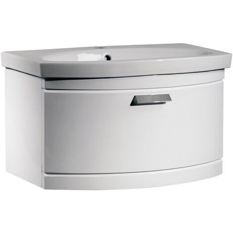Tavistock Tempo Wall Mounted Bathroom Vanity Unit & Basin 650mm Wide White 1 Tap Hole