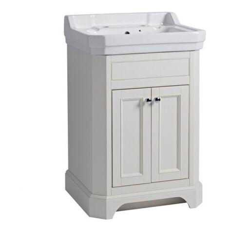 Tavistock Vitoria Floor Standing Vanity Unit with Basin 600mm W - Linen White