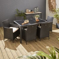 Tavola 6, garden table and 6 chairs in rattan, black