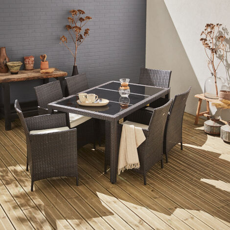 Tavola 6, garden table and 6 chairs in rattan, brown