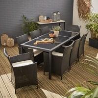 Tavola garden set with table and 8 chairs in rattan, black