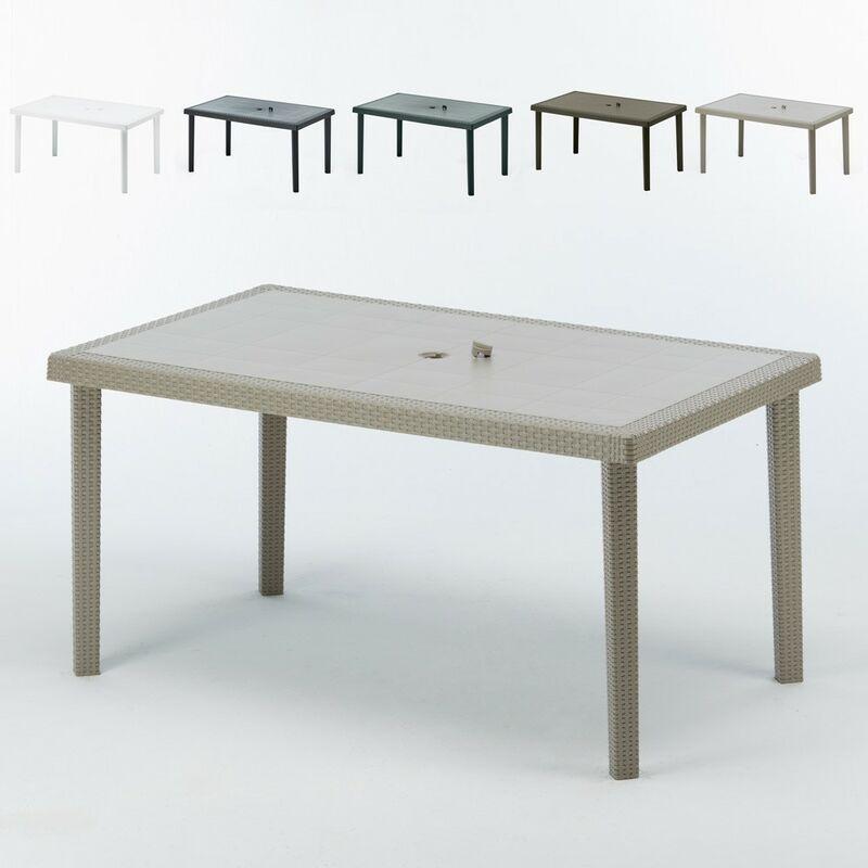 12 tavoli poly rattan rettangolari 150x90 boheme beige grand soleil
