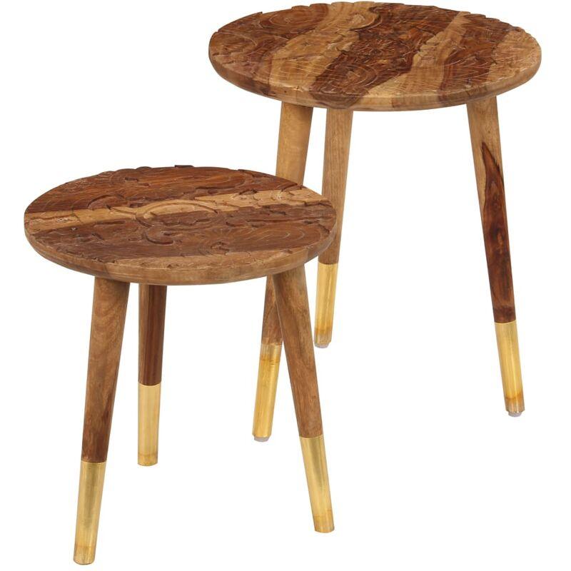 Tavolini da Caffè 2 pz in Legno Massello di Sheesham - Marrone - Vidaxl