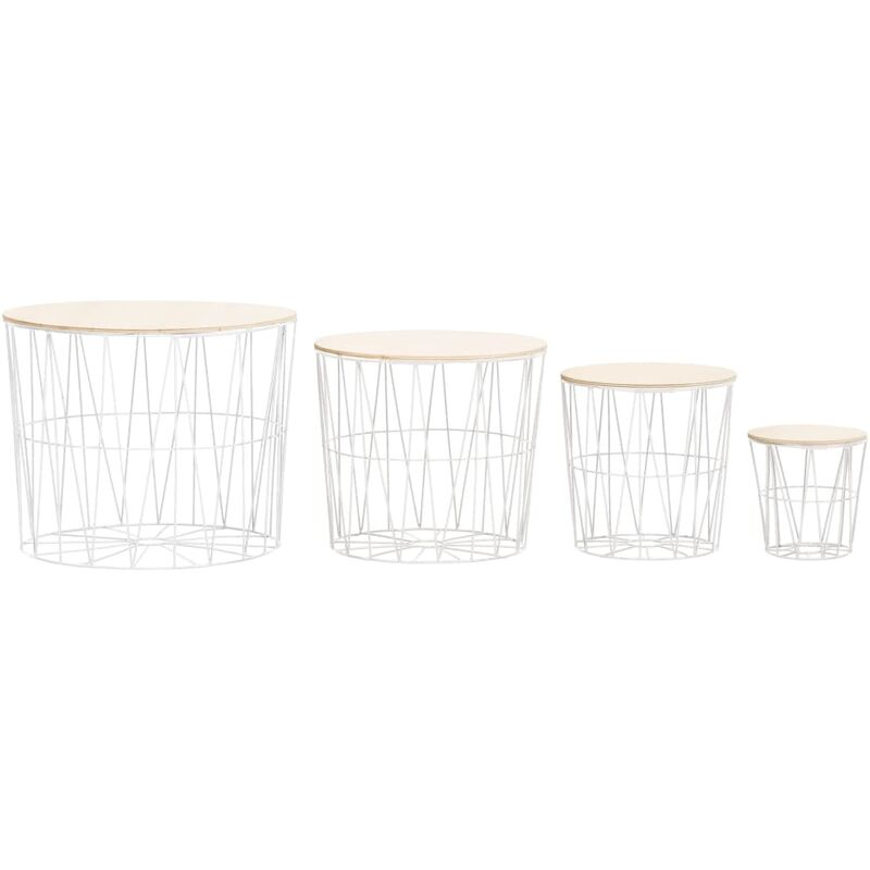 Tavolini da Caffè 4 pz Bianchi - Bianco - Vidaxl