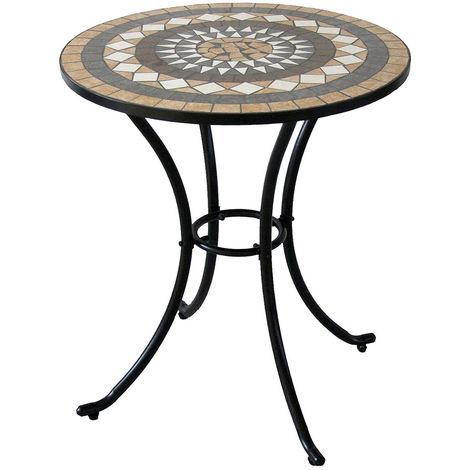 Tavoli Da Giardino Ferro E Ceramica.Tavolino 60cm In Ferro E Mosaico 06408