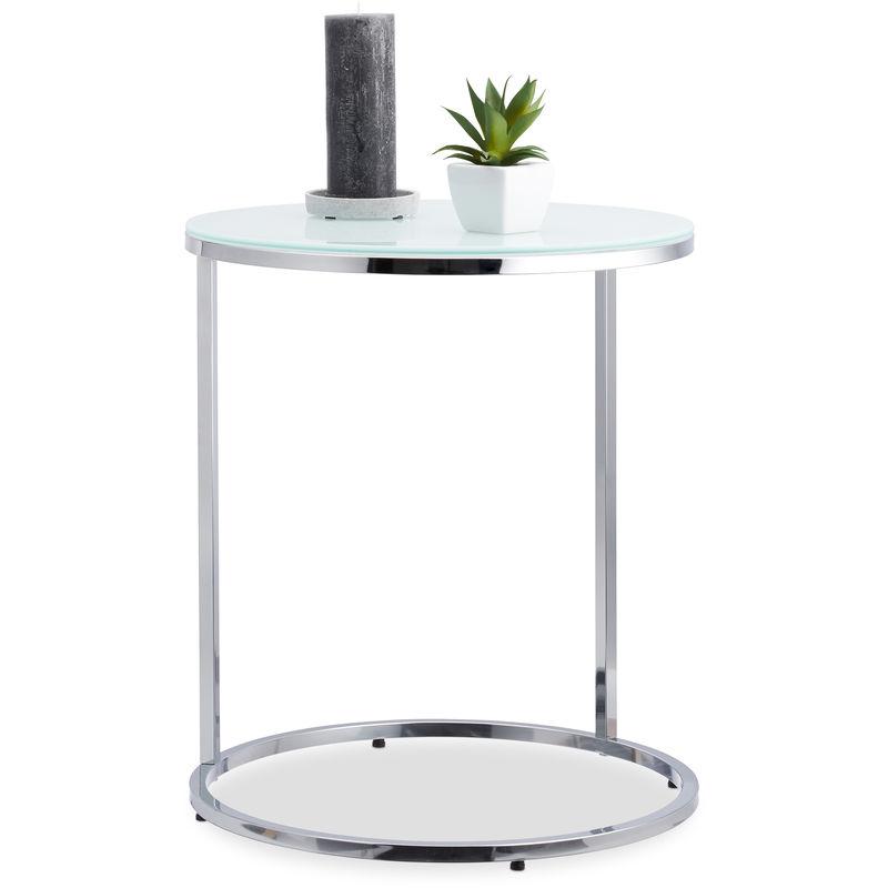 Tavolo Rotondo Vetro Acciaio.Tavolino Acciaio E Vetro Opalino Rotondo Telaio Cromato Tavolinetto H X O 55 X 48 Cm Argento