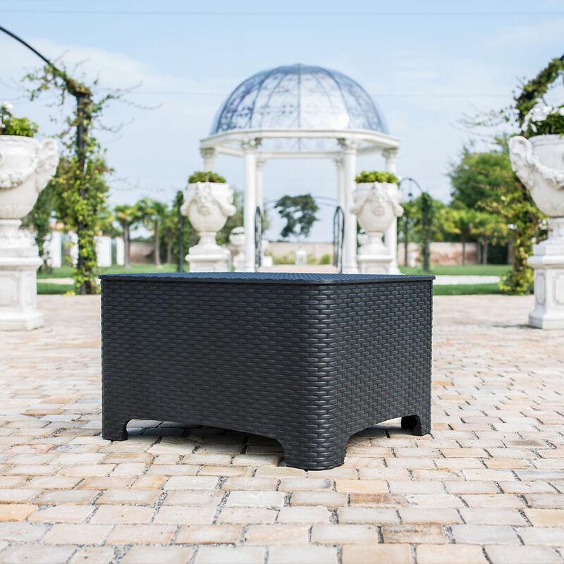 Tavolino basso con contenitore porta cuscini per giardino ed esterni bar ed hotel RAFFAELLO
