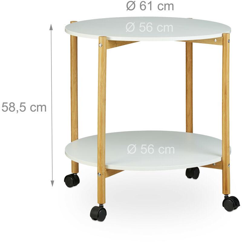 Tavolino con Ruote, Tavolinetto da Caffè Rotondo con 2 Ripiani, Mobile,  Multifunzione, Bianco