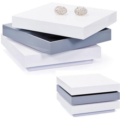 Tavolino Da Caff.Tavolino Da Caffe Bianco Lucido Contenitore Quadrato Tavolo Basso Moderno Legno
