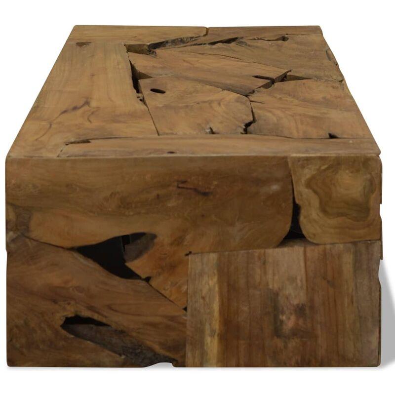 Tavolino da Caffè in Autentico Legno di Teak 90x50x35cm Marrone