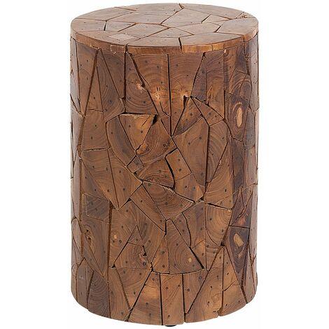 Tavolo botte in legno recuperata piano in vetro tondo luce a