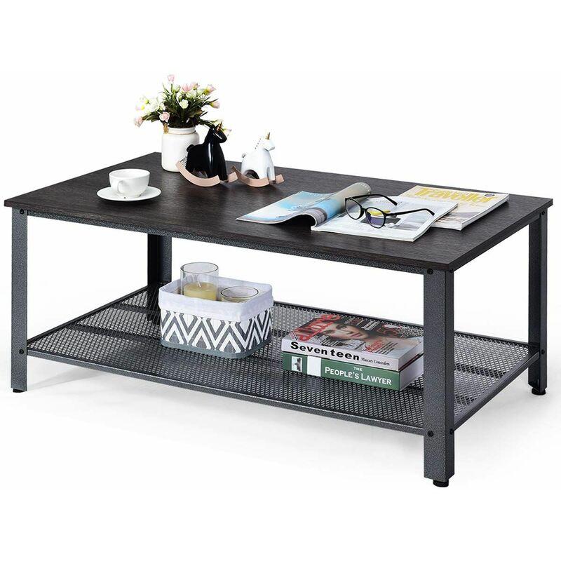 Costway - Tavolino da caffè, Tavolo da Divano, Tavolino da Salotto, Stile Industriale, 106 x 60 x 45 cm (Argento)