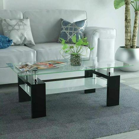 Tavolino da caffè tavolo da salotto con piani in vetro ...