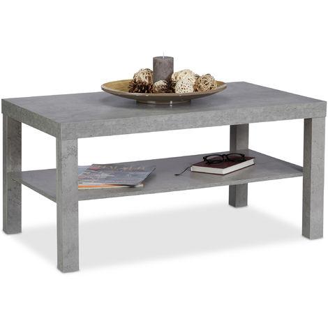 Tavolino da Divano Effetto Cemento, con Ripiano, Tavolo ...