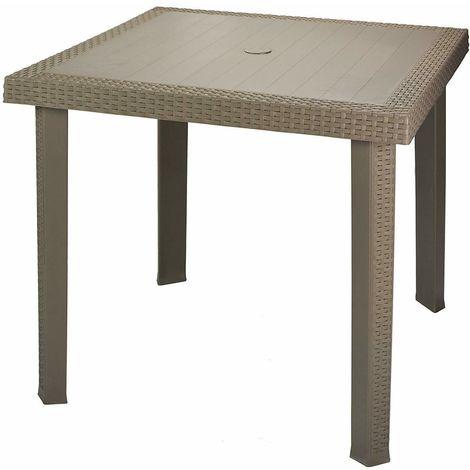 Tavolini Da Esterno In Plastica.Tavolino Da Giardino Esterni Quadrato 80x80 Effetto Rattan In Plastica Tortora