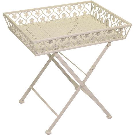 Tavolino Con Vassoio.Tavolino Da Giardino Rettangolare Con Vassoio In Metallo Adami Letizia Bianco