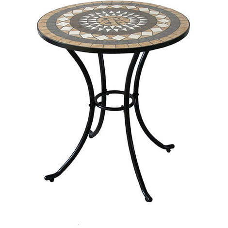 Tavolo In Ferro Battuto E Ceramica.Tavolino Da Giardino Rotondo In Ferro Con Piano In Ceramica A Mosaico Taddei Musa