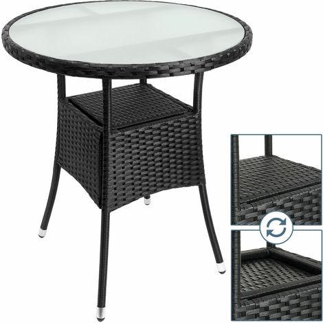 Tavolino Rattan Da Giardino.Tavolino Da Giardino Terrazza Rotondo In Rattan Nero Con Vetro 60x74