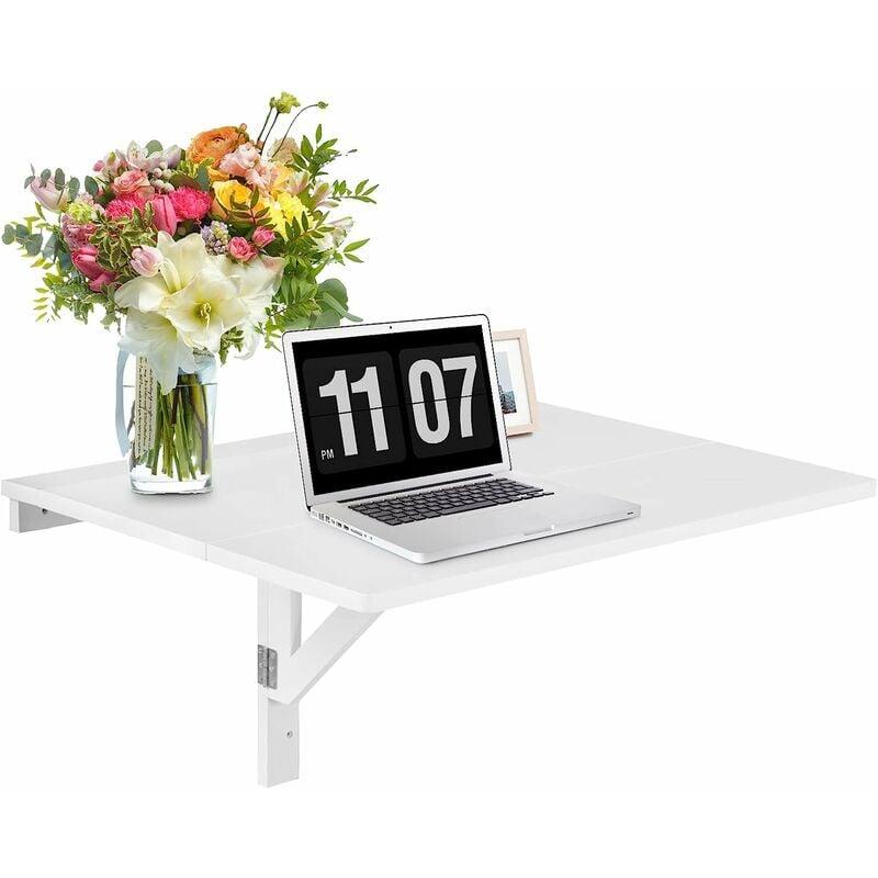 Tavolino da Muro Pieghevole Tavolo da Parete in Legno, 80 x 60 x 45 cm,  Bianco