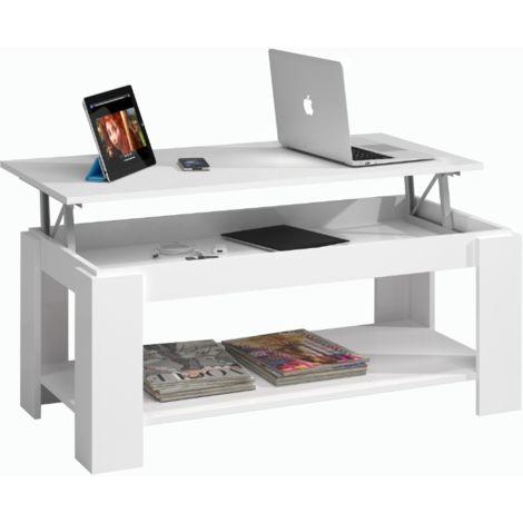 Tavolino da salotto 102x50 cm Bianco opaco con parte superiore alzabile | Bianco
