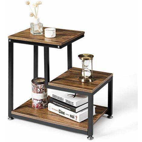 Tavolino da Salotto a 3 Piani Elegante Mobile da Salotto Mobile Porta Riviste Aperto Dimensioni: 60 x 60 x 35 cm
