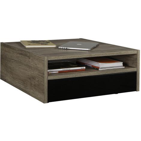 Tavolo Basso Moderno.Tavolino Da Salotto Basso Rovere Nero Quadrato Soggiorno In Legno Tavolo Moderno
