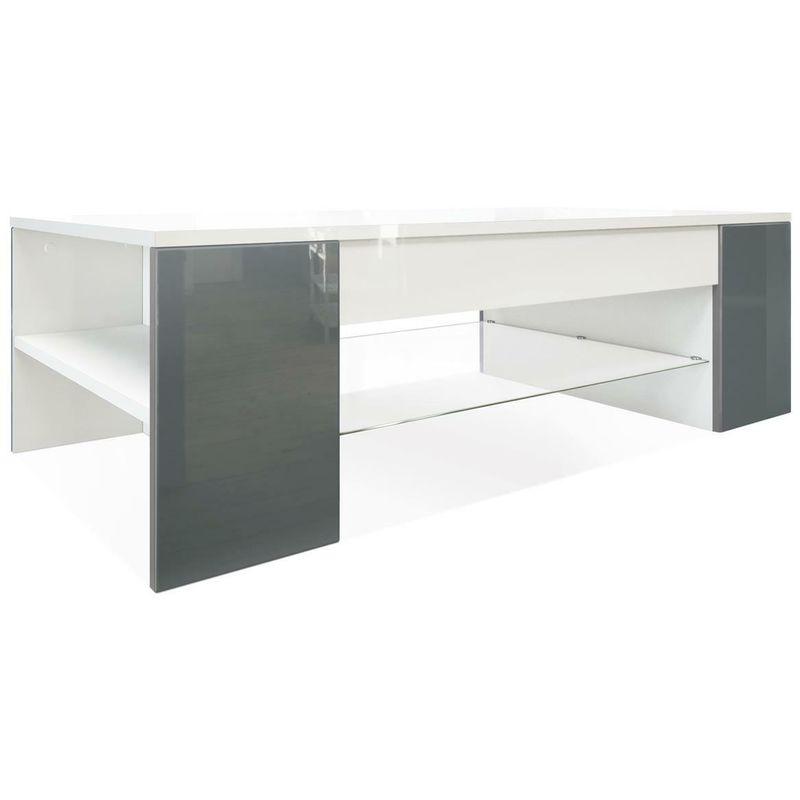 Tavolino da salotto caffè moderno con ripiano in vetro bicolore lucido stile: grigio lucido - NOVA