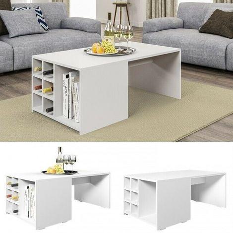 Tavolini Da Caffe Moderni.Tavolino Da Salotto Tavolo Caffe Te Moderno Con Porta Bottiglie E Porta Riviste Caratteristiche Bianco