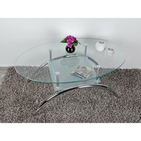 Tavolino Salotto Ferro Battuto E Vetro.Tavolino Da Salotto Con Piano Ovale In Vetro Tavolo Da Caffe