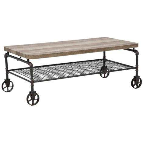 Tavolino da salotto ferro e legno tavolo basso industrial ruote nero  MANHATTAN